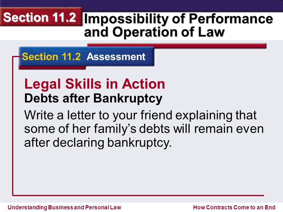 Understanding Business and Personal Law Impossibility of Performance and Operation of Law Section 11.2 How Contracts Come to an End Section 11.2 Assessment Legal Skills in Action Debts after Bankruptcy Write a letter to your friend explaining that some of her family's debts will remain even after declaring bankruptcy.