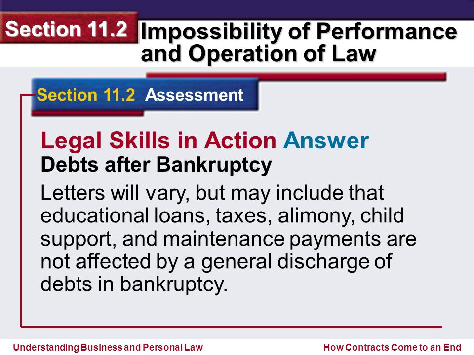 Understanding Business and Personal Law Impossibility of Performance and Operation of Law Section 11.2 How Contracts Come to an End Section 11.2 Assessment Legal Skills in Action Answer Debts after Bankruptcy Letters will vary, but may include that educational loans, taxes, alimony, child support, and maintenance payments are not affected by a general discharge of debts in bankruptcy.
