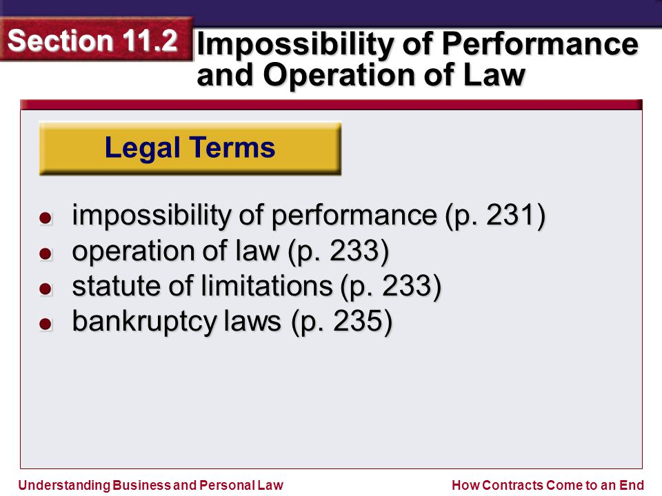 Understanding Business and Personal Law Impossibility of Performance and Operation of Law Section 11.2 How Contracts Come to an End Involuntary Discharge Discharge by Impossibility of Performance Death or Illness in a Personal Service Contract Destruction of the Exact Subject Matter Illegality Section Outline