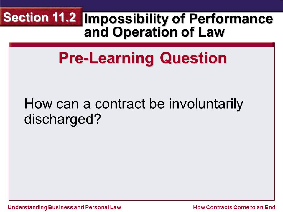 Understanding Business and Personal Law Impossibility of Performance and Operation of Law Section 11.2 How Contracts Come to an End ANSWER Wrongful alteration