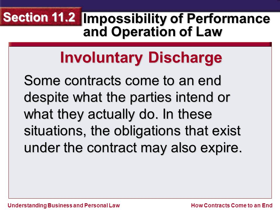Understanding Business and Personal Law Impossibility of Performance and Operation of Law Section 11.2 How Contracts Come to an End At times, the best interests of society demand that a contract be terminated.