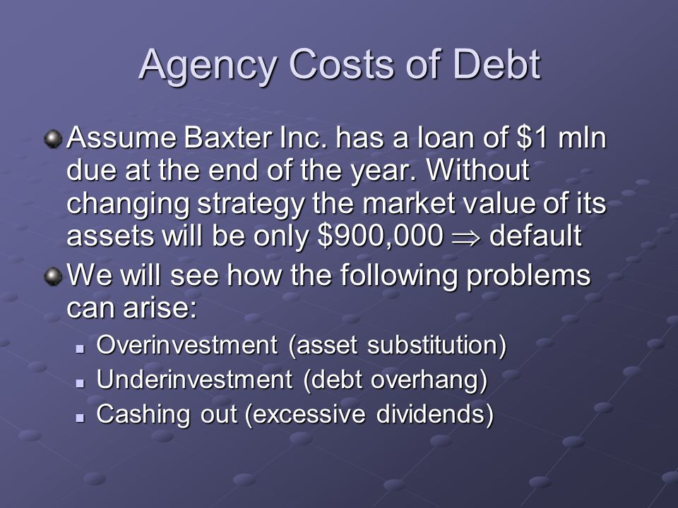 Agency Costs of Debt Assume Baxter Inc. has a loan of $1 mln due at the end of the year. Without changing strategy the market value of its assets will