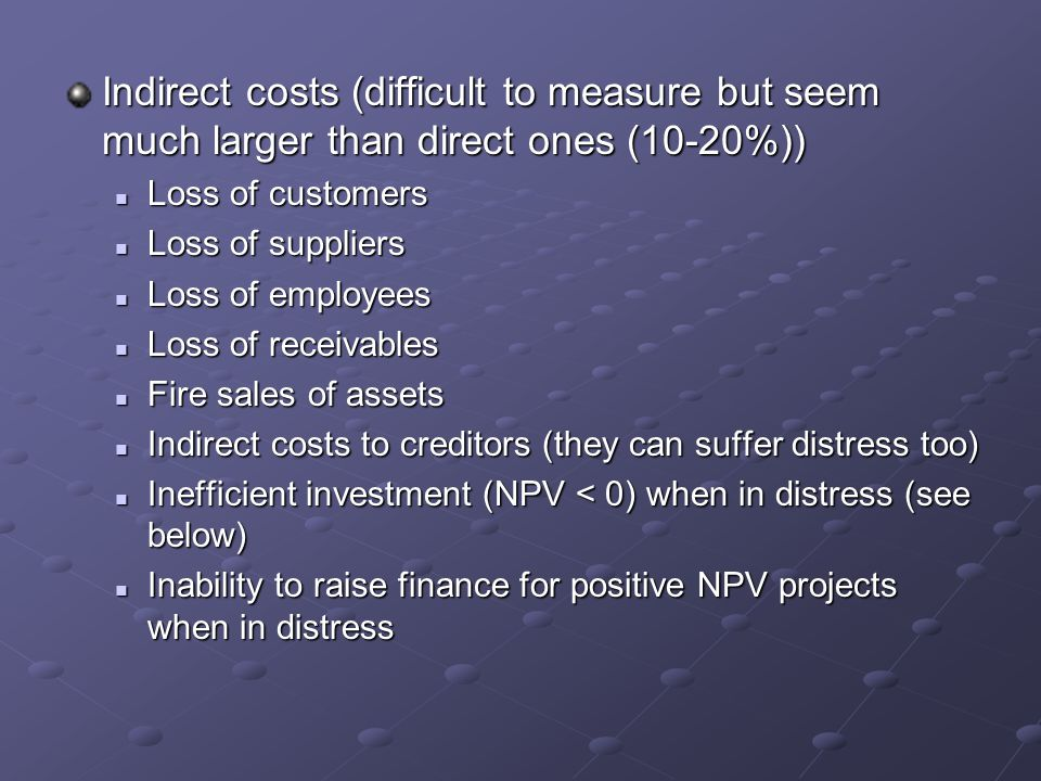 Indirect costs (difficult to measure but seem much larger than direct ones (10-20%)) Loss of customers Loss of customers Loss of suppliers Loss of sup
