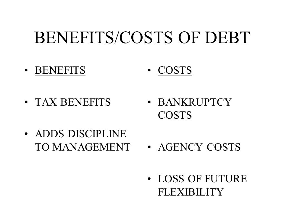 BENEFITS/COSTS OF DEBT BENEFITS TAX BENEFITS ADDS DISCIPLINE TO MANAGEMENT COSTS BANKRUPTCY COSTS AGENCY COSTS LOSS OF FUTURE FLEXIBILITY
