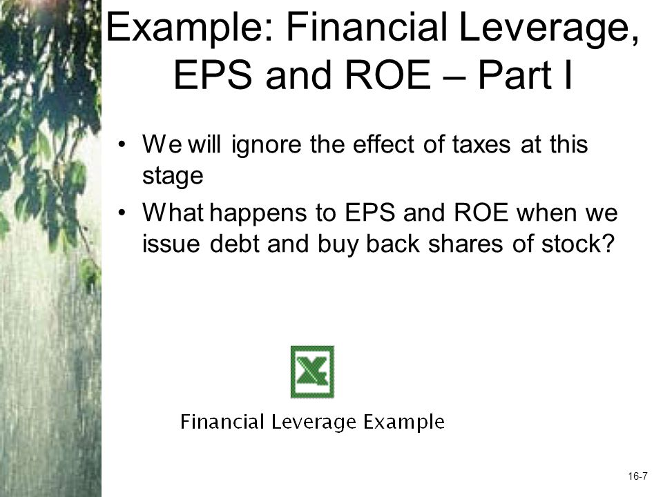 Example: Financial Leverage, EPS and ROE – Part I We will ignore the effect of taxes at this stage What happens to EPS and ROE when we issue debt and buy back shares of stock.
