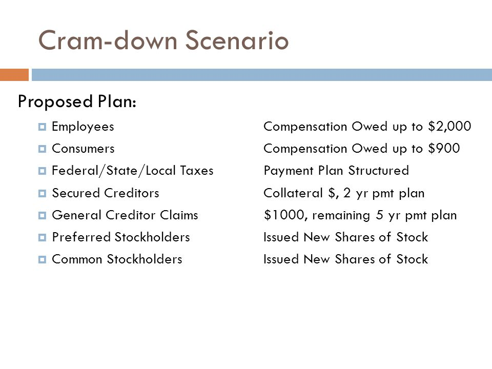 Cram-down Scenario Proposed Plan:  Employees Compensation Owed up to $2,000  ConsumersCompensation Owed up to $900  Federal/State/Local TaxesPayment Plan Structured  Secured CreditorsCollateral $, 2 yr pmt plan  General Creditor Claims$1000, remaining 5 yr pmt plan  Preferred StockholdersIssued New Shares of Stock  Common StockholdersIssued New Shares of Stock