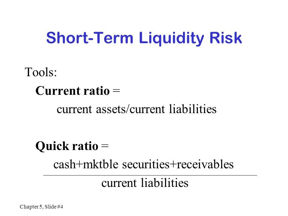 Chapter 5, Slide #4 Short-Term Liquidity Risk Tools: Current ratio = current assets/current liabilities Quick ratio = cash+mktble securities+receivabl