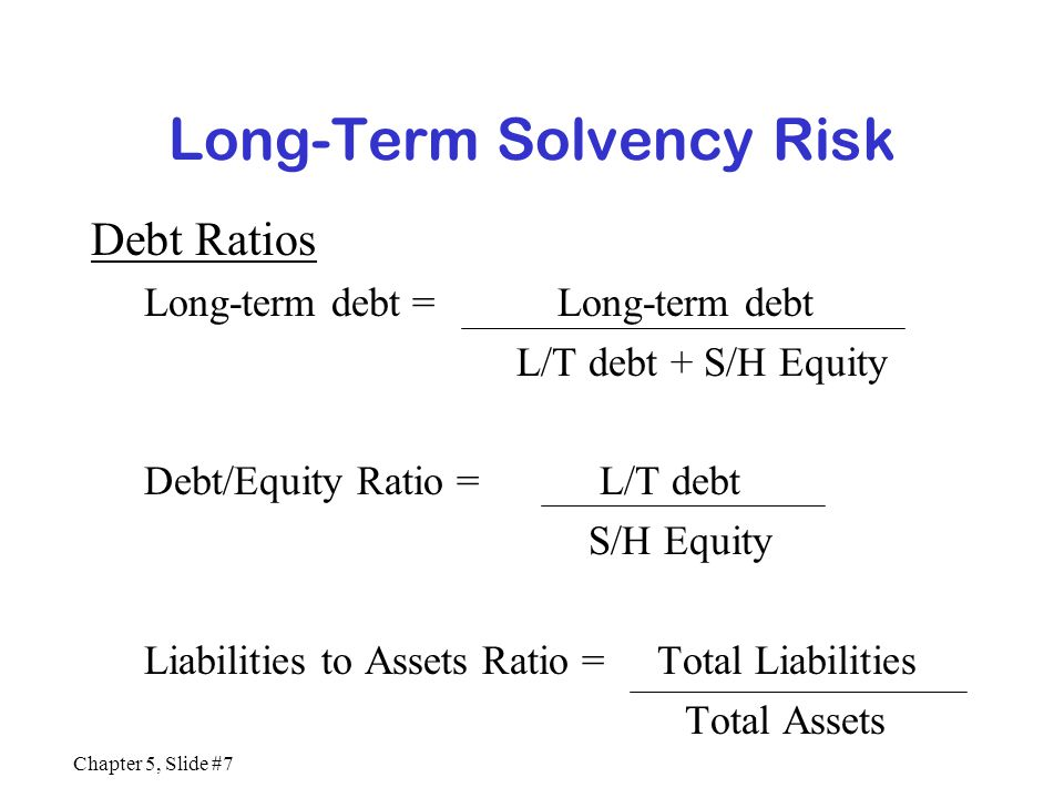 Chapter 5, Slide #7 Long-Term Solvency Risk Debt Ratios Long-term debt = Long-term debt L/T debt + S/H Equity Debt/Equity Ratio = L/T debt S/H Equity