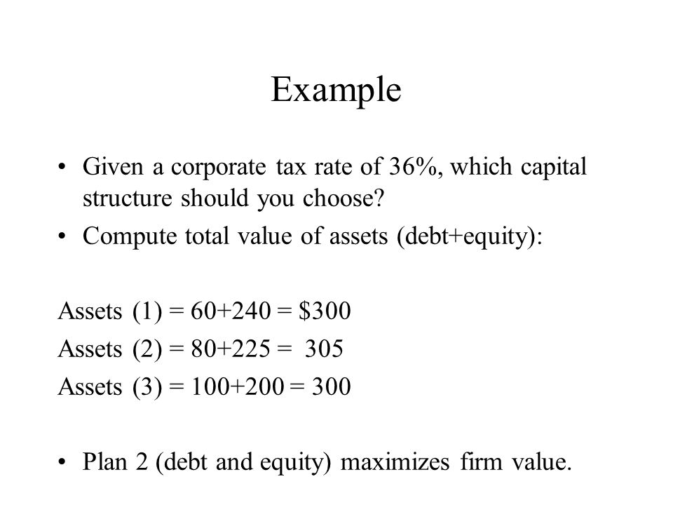 Example Given a corporate tax rate of 36%, which capital structure should you choose.