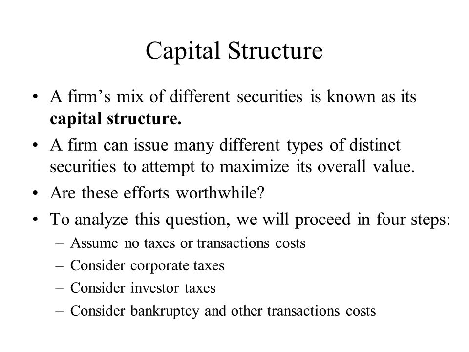 Capital Structure A firm's mix of different securities is known as its capital structure.