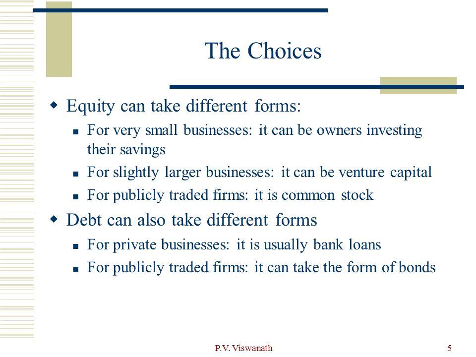 P.V. Viswanath6 A Life Cycle View of Financing Choices