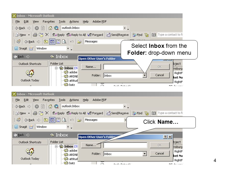 4 Select Inbox from the Folder: drop-down menu Click Name…