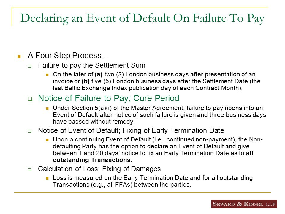 Declaring an Event of Default On Failure To Pay A Four Step Process…  Failure to pay the Settlement Sum On the later of (a) two (2) London business days after presentation of an invoice or (b) five (5) London business days after the Settlement Date (the last Baltic Exchange Index publication day of each Contract Month).