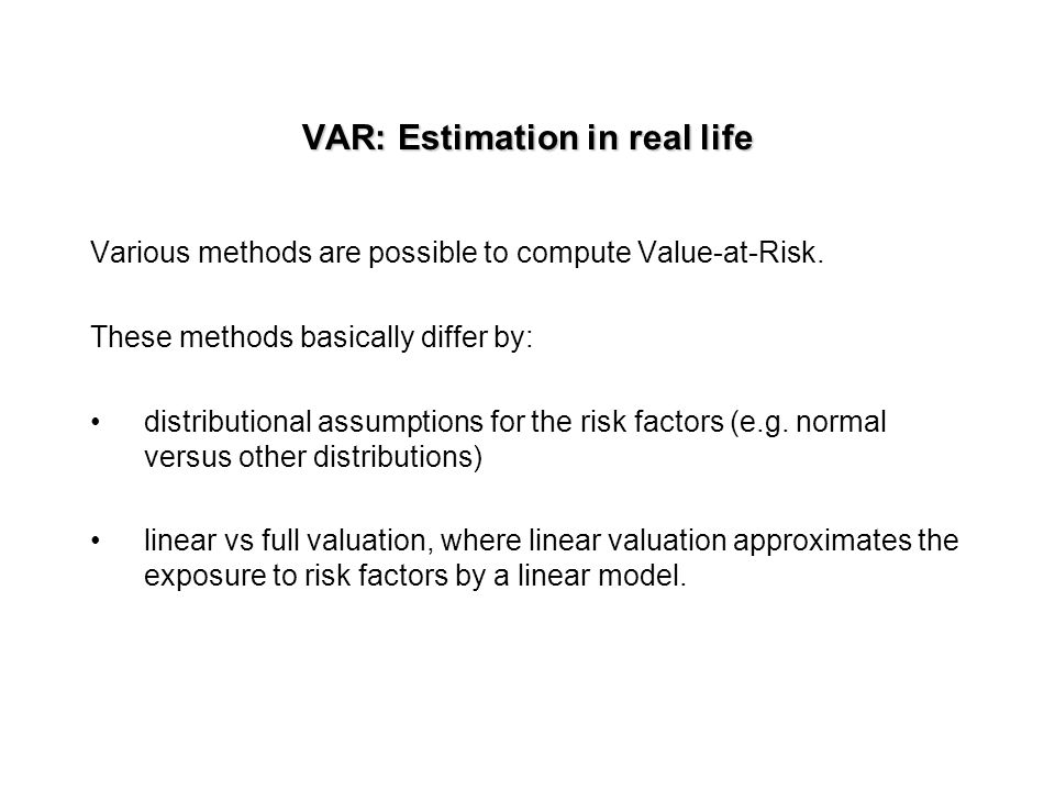 How can we use VAR? VAR summarizes the portfolio's exposure to market risk as well as the probability of an adverse move. VAR measures risk using the