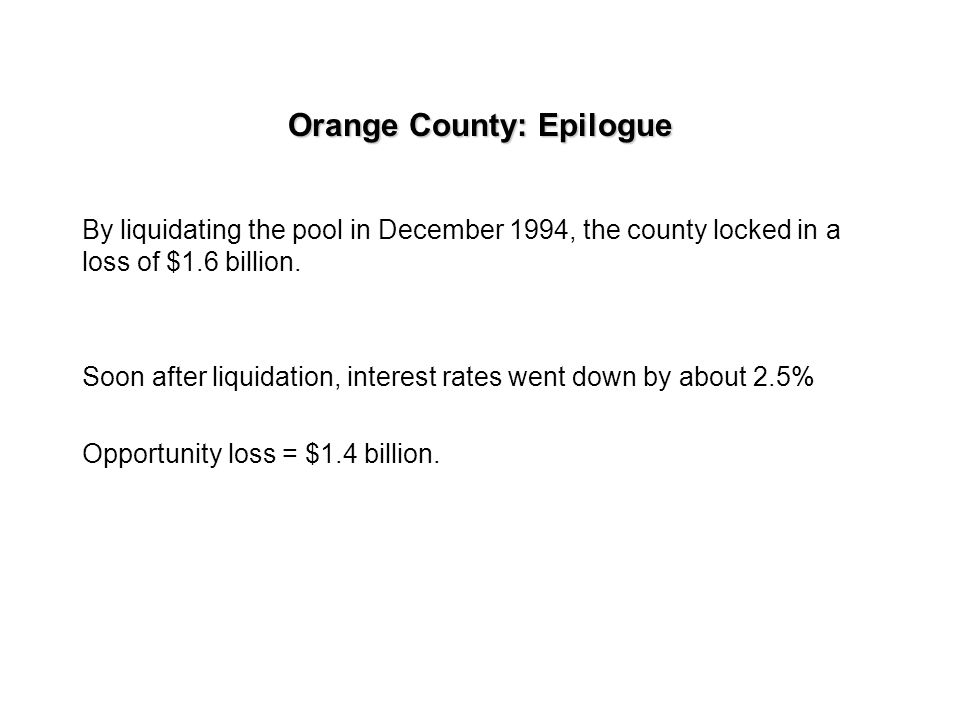Orange county: Questions The county Supervisors had to decide in December of 1994 whether to liquidate the portfolio or maintain the strategy. At that