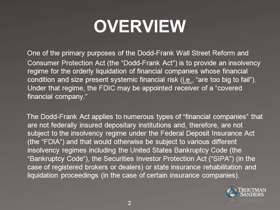 The Dodd-Frank Act provides that it and not the Bankruptcy Code shall exclusively apply to and govern all matters relating to covered financial companies for which the FDIC is appointed as receiver and in such case no provisions of the Bankruptcy Code or the rules issued thereunder shall apply, except as expressly provided otherwise.