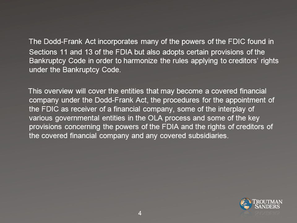 H.Consultation Required by FDIC with Regulatory Agencies of the Covered Financial Company and its Covered Subsidiaries 1.The FDIC is required to consult with the primary financial regulatory agencies for the covered financial company and its covered subsidiaries for the purposes of ensuring an orderly liquidation.