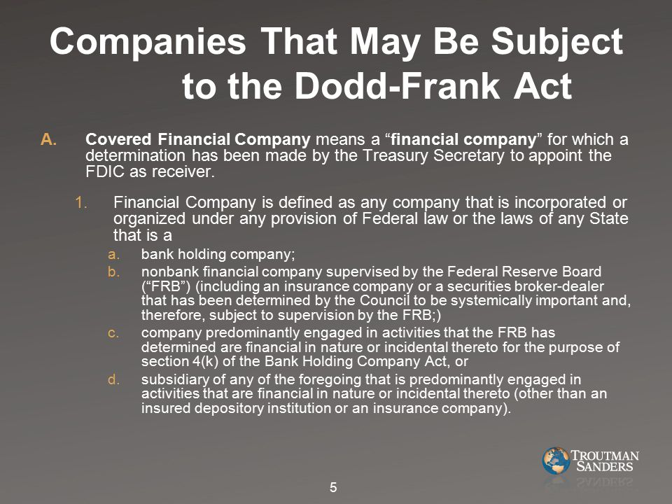 I.Funding for Orderly Liquidation 1.Upon appointment as receiver, the FDIC may in its discretion make available to the receivership, subject to the conditions in section 206 and subject to the plan described in section 210(n)(11) of the Dodd-Frank Act, funds for the orderly liquidation of the covered financial company.
