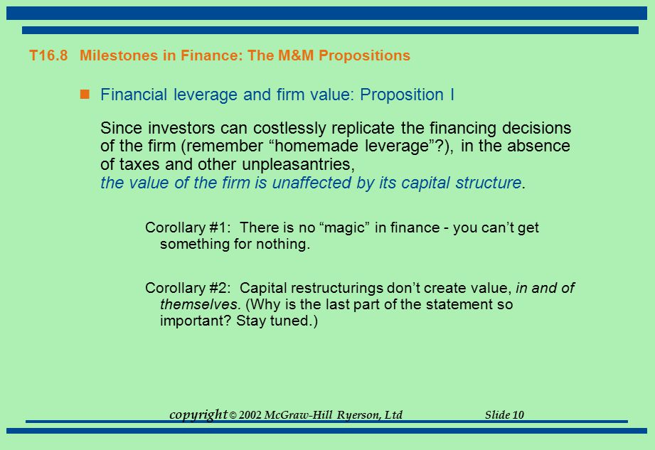 copyright © 2002 McGraw-Hill Ryerson, Ltd Slide 10 T16.8 Milestones in Finance: The M&M Propositions Financial leverage and firm value: Proposition I