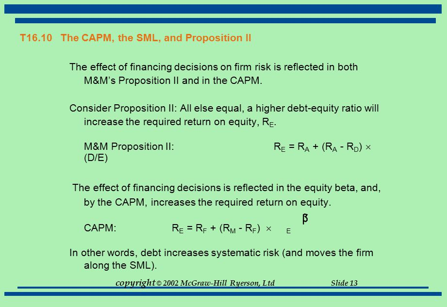 copyright © 2002 McGraw-Hill Ryerson, Ltd Slide 13 T16.10 The CAPM, the SML, and Proposition II The effect of financing decisions on firm risk is refl