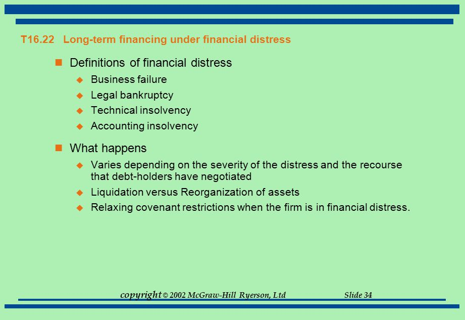 copyright © 2002 McGraw-Hill Ryerson, Ltd Slide 34 T16.22Long-term financing under financial distress Definitions of financial distress  Business fai