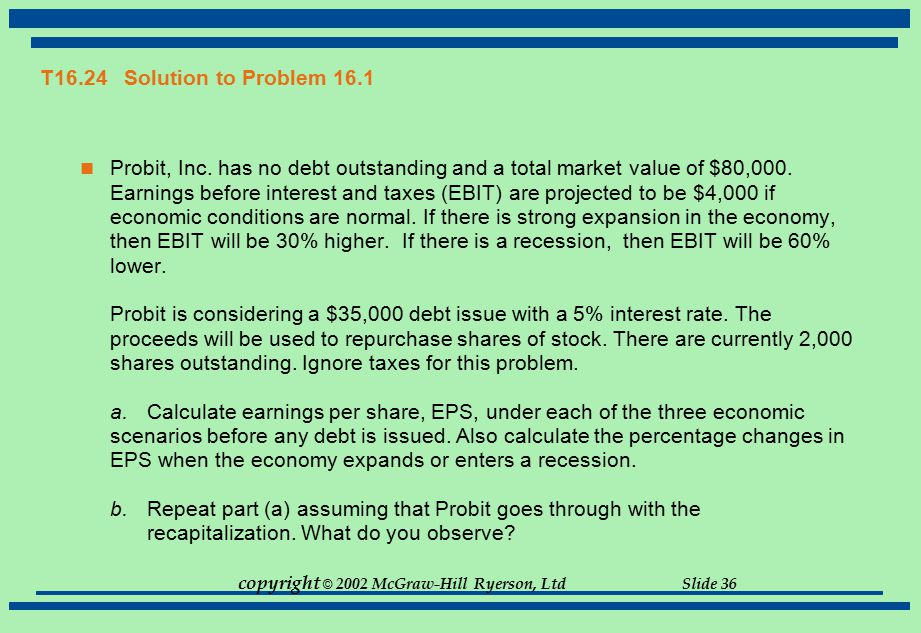 copyright © 2002 McGraw-Hill Ryerson, Ltd Slide 36 T16.24 Solution to Problem 16.1 Probit, Inc. has no debt outstanding and a total market value of $8