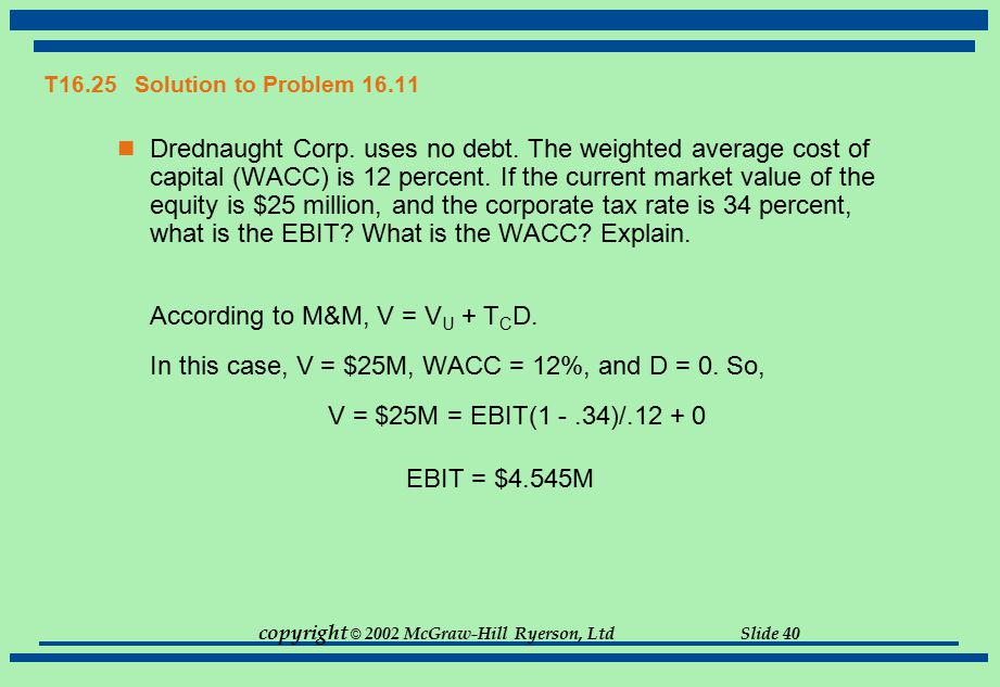 copyright © 2002 McGraw-Hill Ryerson, Ltd Slide 40 T16.25 Solution to Problem 16.11 Drednaught Corp. uses no debt. The weighted average cost of capita