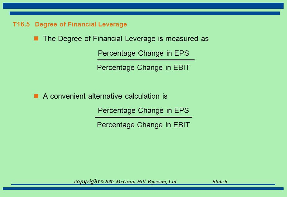 copyright © 2002 McGraw-Hill Ryerson, Ltd Slide 6 T16.5 Degree of Financial Leverage The Degree of Financial Leverage is measured as Percentage Change