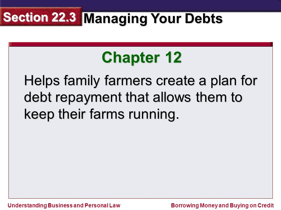 Understanding Business and Personal Law Managing Your Debts Section 22.3 Borrowing Money and Buying on Credit Chapter 12 Helps family farmers create a plan for debt repayment that allows them to keep their farms running.