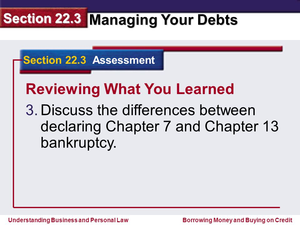 Understanding Business and Personal Law Managing Your Debts Section 22.3 Borrowing Money and Buying on Credit Reviewing What You Learned 3.
