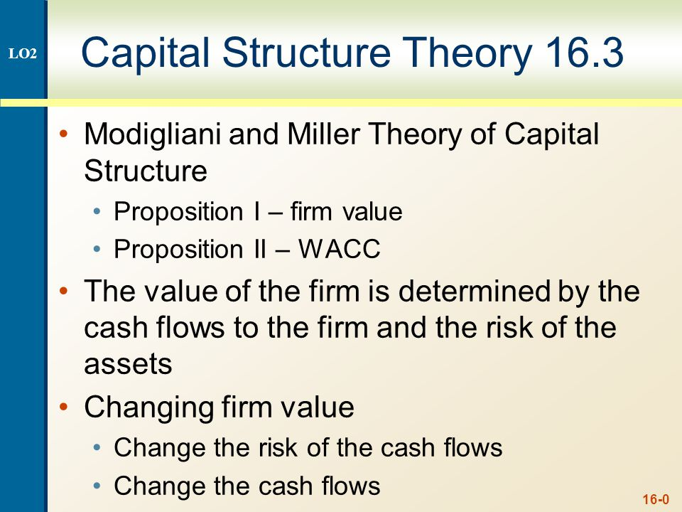 16-1 Capital Structure Theory Under Three Special Cases Case I – Assumptions No corporate or personal taxes No bankruptcy costs Case II – Assumptions Corporate taxes, but no personal taxes No bankruptcy costs Case III – Assumptions Corporate taxes, but no personal taxes Bankruptcy costs LO2