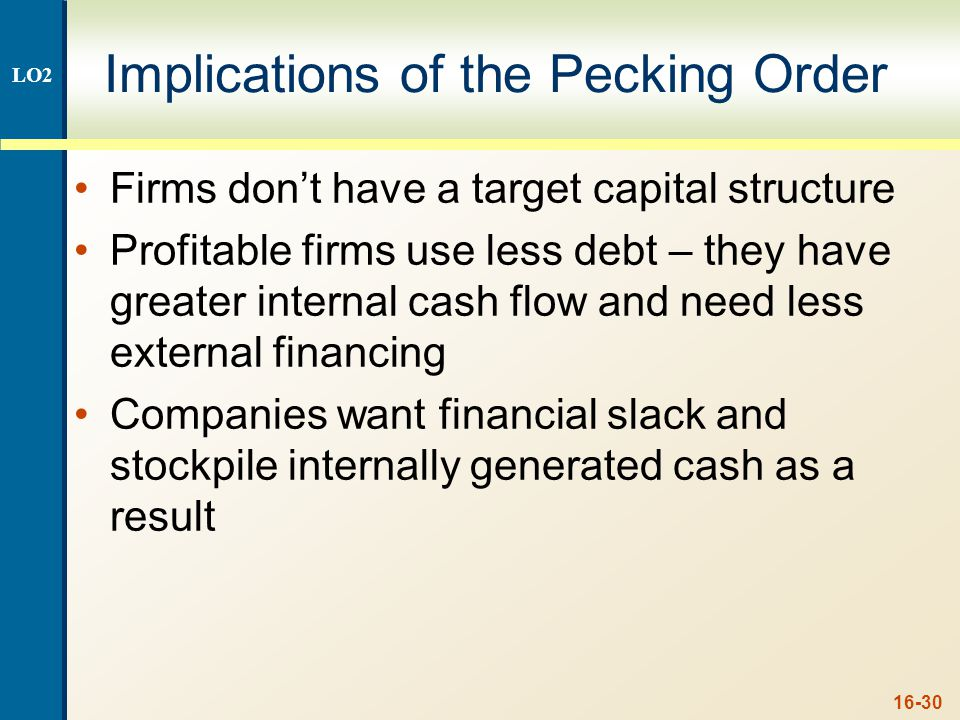 16-30 Implications of the Pecking Order Firms don't have a target capital structure Profitable firms use less debt – they have greater internal cash f