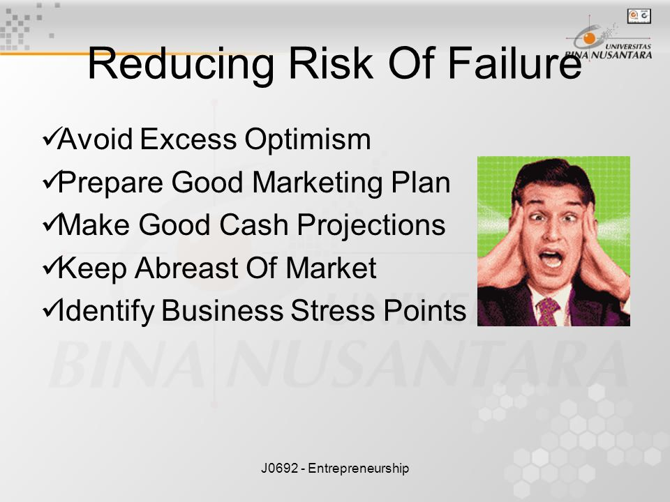 J0692 - Entrepreneurship Reducing Risk Of Failure Avoid Excess Optimism Prepare Good Marketing Plan Make Good Cash Projections Keep Abreast Of Market