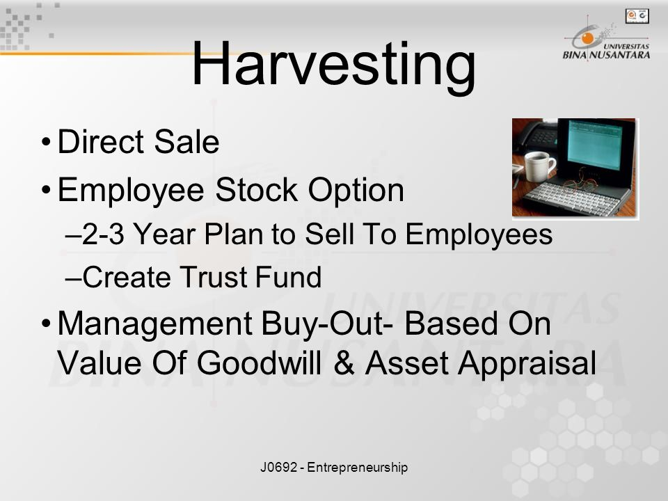 J0692 - Entrepreneurship Harvesting Direct Sale Employee Stock Option –2-3 Year Plan to Sell To Employees –Create Trust Fund Management Buy-Out- Based