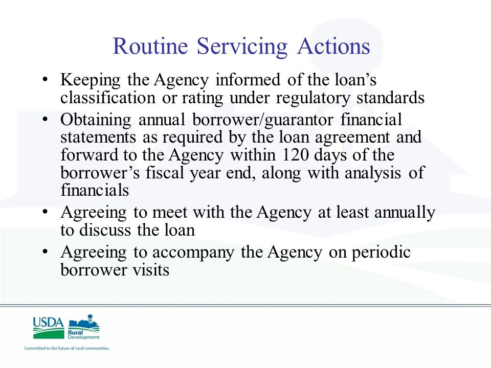 Routine Servicing Actions Keeping the Agency informed of the loan's classification or rating under regulatory standards Obtaining annual borrower/guarantor financial statements as required by the loan agreement and forward to the Agency within 120 days of the borrower's fiscal year end, along with analysis of financials Agreeing to meet with the Agency at least annually to discuss the loan Agreeing to accompany the Agency on periodic borrower visits