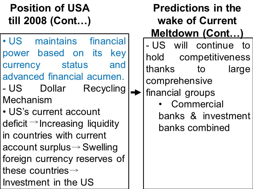 US maintains financial power based on its key currency status and advanced financial acumen. - US Dollar Recycling Mechanism US's current account defi