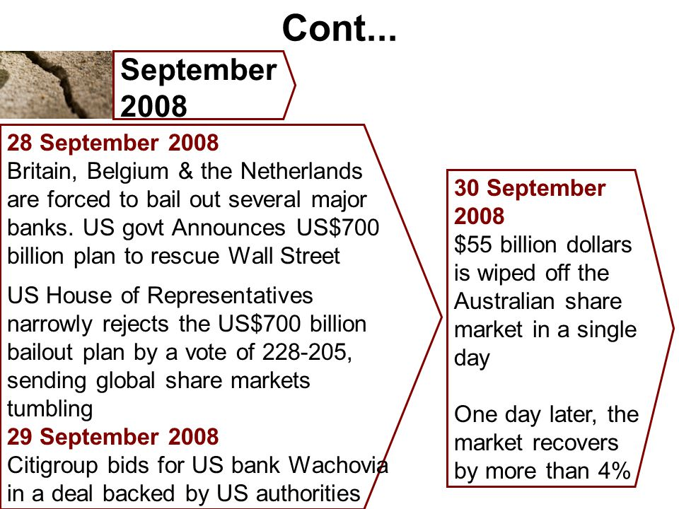 Cont... September 2008 28 September 2008 Britain, Belgium & the Netherlands are forced to bail out several major banks. US govt Announces US$700 billi