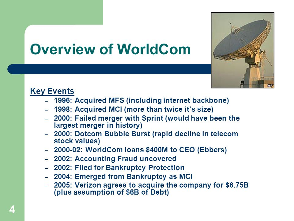 4 Overview of WorldCom Key Events – 1996: Acquired MFS (including internet backbone) – 1998: Acquired MCI (more than twice it's size) – 2000: Failed merger with Sprint (would have been the largest merger in history) – 2000: Dotcom Bubble Burst (rapid decline in telecom stock values) – 2000-02: WorldCom loans $400M to CEO (Ebbers) – 2002: Accounting Fraud uncovered – 2002: Filed for Bankruptcy Protection – 2004: Emerged from Bankruptcy as MCI – 2005: Verizon agrees to acquire the company for $6.75B (plus assumption of $6B of Debt)