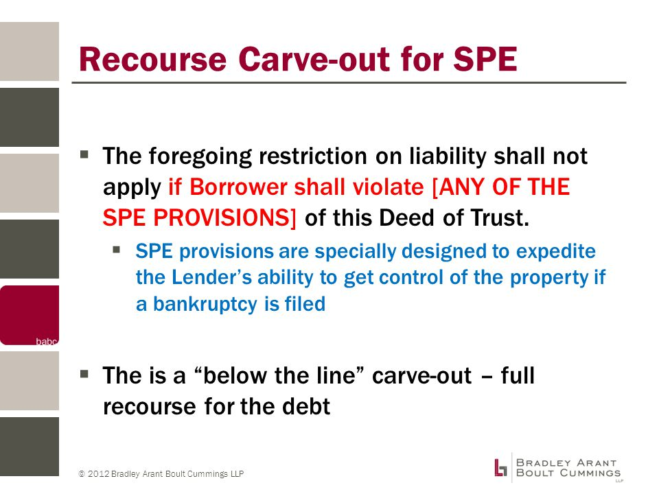 © 2012 Bradley Arant Boult Cummings LLP Other Carve-outs: Admission of Insolvency  Borrower shall be the subject of any petition or proceeding for bankruptcy, reorganization or arrangement pursuant to federal bankruptcy law, or any similar federal or state law that remains undismissed for a period of sixty (60) days or more, or Borrower shall admit in writing that it is insolvent or unable to pay its debts when due  How do you start a conversation with a Lender about a workout without saying the Borrower is insolvent.