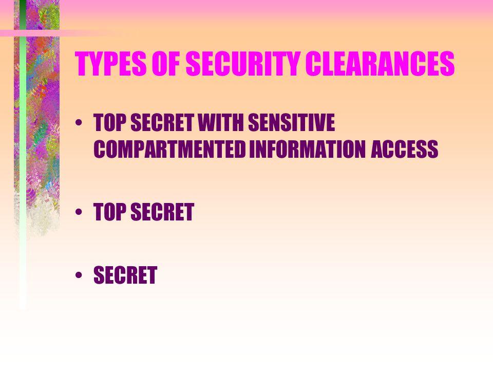 TYPES OF SECURITY CLEARANCES TOP SECRET WITH SENSITIVE COMPARTMENTED INFORMATION ACCESS TOP SECRET SECRET