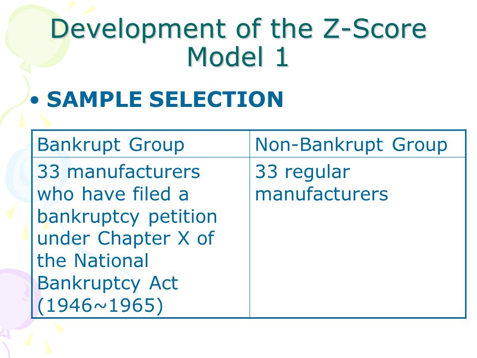 Development of the Z-Score Model 1 SAMPLE SELECTION Bankrupt GroupNon-Bankrupt Group 33 manufacturers who have filed a bankruptcy petition under Chapter X of the National Bankruptcy Act (1946~1965) 33 regular manufacturers