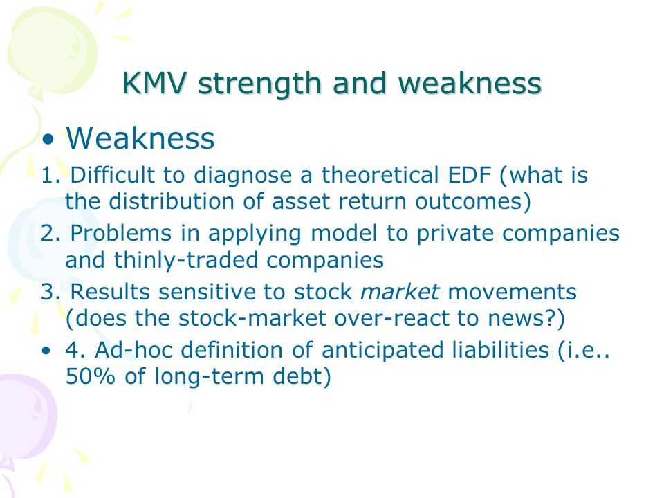 KMV strength and weakness Weakness 1.