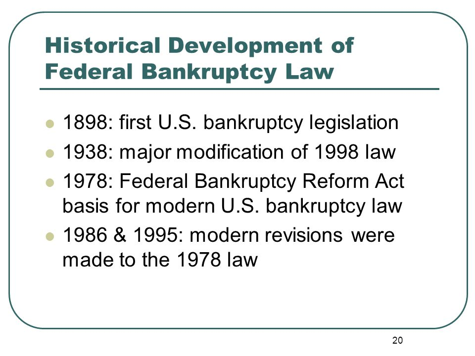 20 Historical Development of Federal Bankruptcy Law 1898: first U.S.