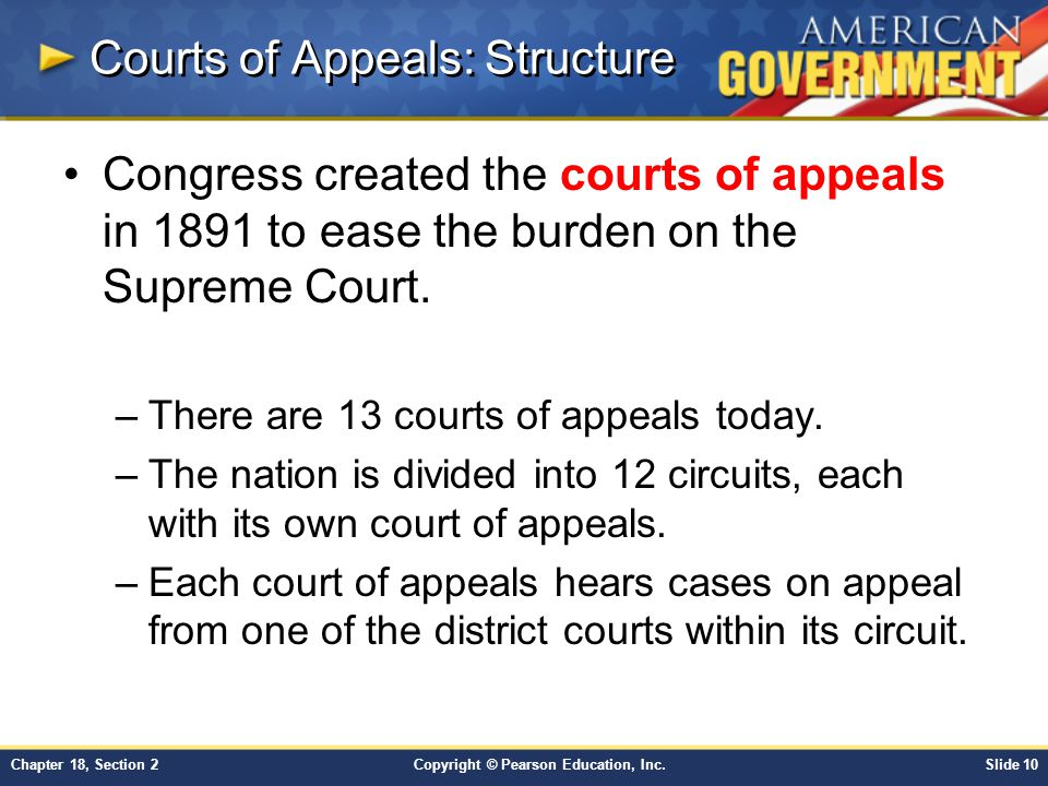 Copyright © Pearson Education, Inc.Slide 10Chapter 18, Section 2 Courts of Appeals: Structure Congress created the courts of appeals in 1891 to ease t