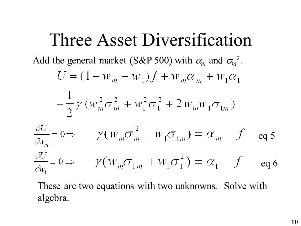 10 Three Asset Diversification Add the general market (S&P 500) with  m and  m 2.