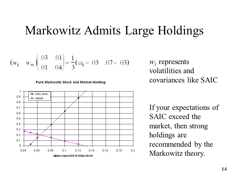 14 Markowitz Admits Large Holdings w 1 represents volatilities and covariances like SAIC If your expectations of SAIC exceed the market, then strong holdings are recommended by the Markowitz theory.