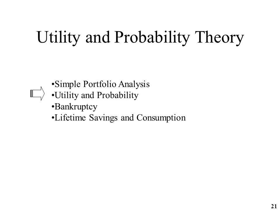 21 Utility and Probability Theory Simple Portfolio Analysis Utility and Probability Bankruptcy Lifetime Savings and Consumption