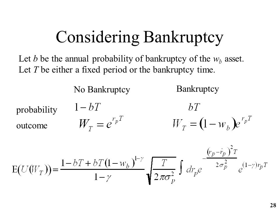 28 Considering Bankruptcy Let b be the annual probability of bankruptcy of the w b asset.