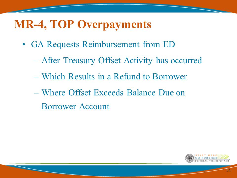 14 MR-4, TOP Overpayments GA Requests Reimbursement from ED –After Treasury Offset Activity has occurred –Which Results in a Refund to Borrower –Where Offset Exceeds Balance Due on Borrower Account