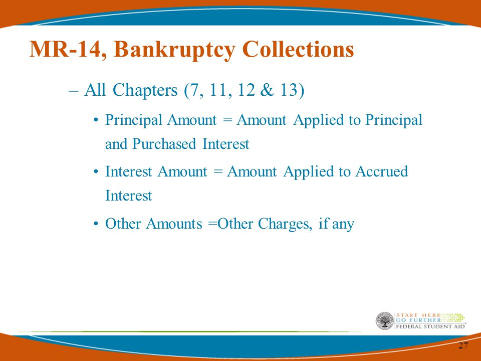 27 MR-14, Bankruptcy Collections –All Chapters (7, 11, 12 & 13) Principal Amount = Amount Applied to Principal and Purchased Interest Interest Amount = Amount Applied to Accrued Interest Other Amounts =Other Charges, if any